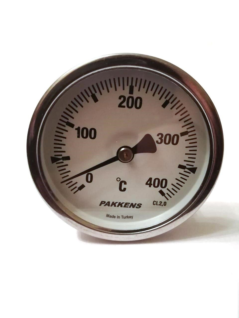 "Термометр биметаллический Pakkens ø63мм / Tmax=400°С / Трубка 100мм / Резьба 1/2"" / Турция"
