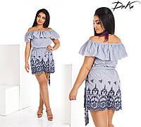 Женский комбез волан. Размеры-42-52 Ткань-коттон + вышивка макроме  Цвет-полоска+синяя(белая)вышивка