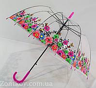 """Прозрачный зонтик трость грибком с цветками по куполу от фирмы """"Flagman"""""""