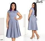 Платье короткий рукав расклешенное миди в полоску коттон 50,52,54,56, фото 3
