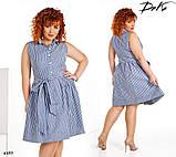 Платье-рубашка без рукав расклешенное короткое в полоску коттон 42,44,46,48,50,52, фото 3