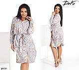 Платье-рубашка под пояс прямое принт цветочный софт 50,52,54,56, фото 2
