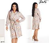 Платье-рубашка под пояс прямое принт цветочный софт 50,52,54,56, фото 3
