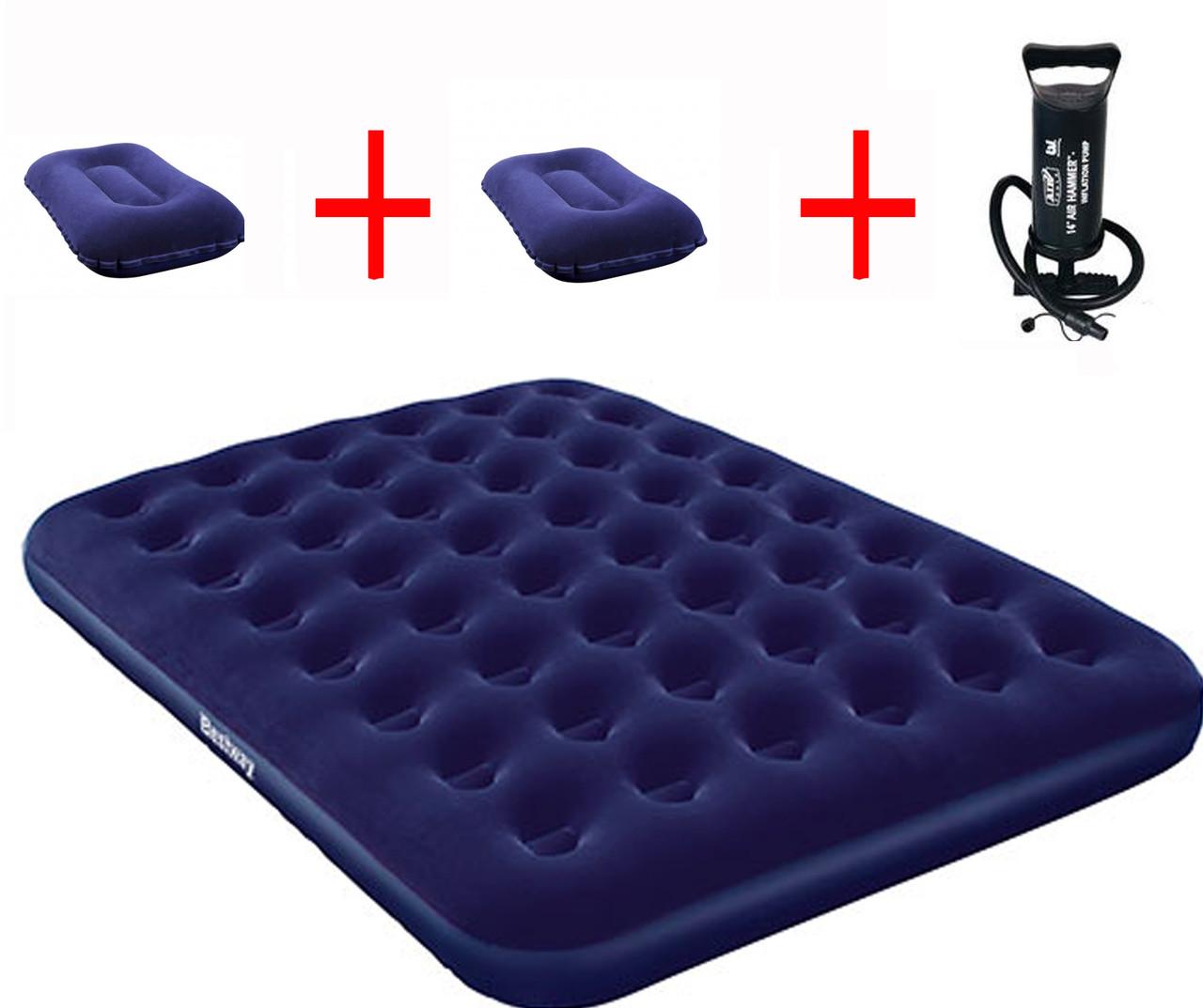 Надувной матрас Bestway 152х203х22 с насосом и двумя подушками
