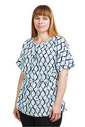 Стильная блуза с принтом голубого цвета Бл-431