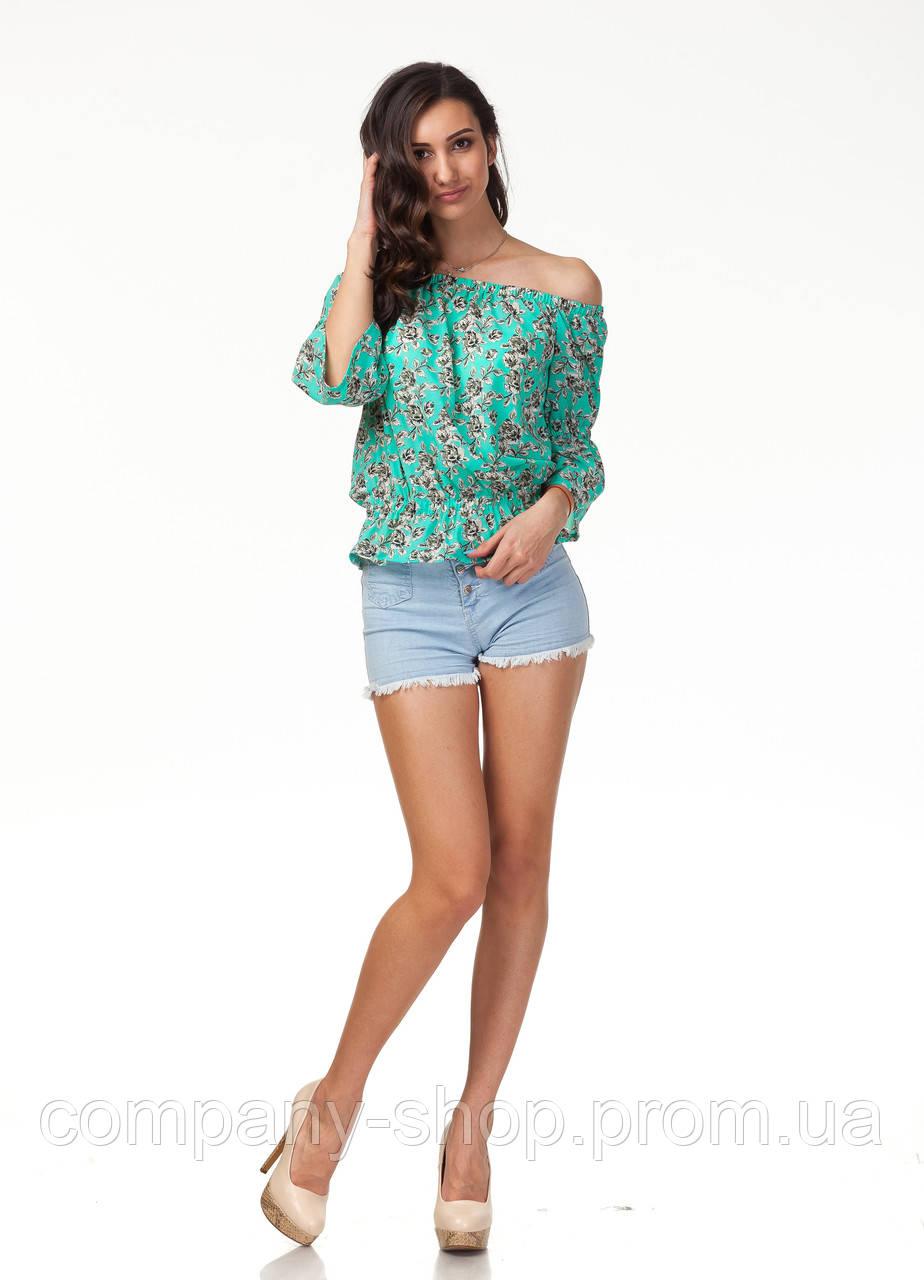 Женская летняя блуза на резинке. Модель К088_бирюзовые цветочки