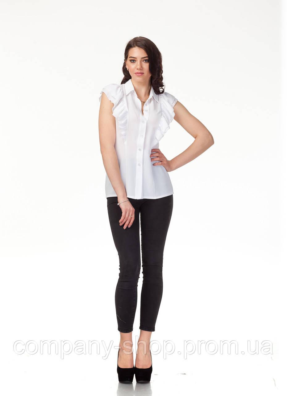 Блузка шифоновая белая оптом. Модель К089_жатка белая, фото 1