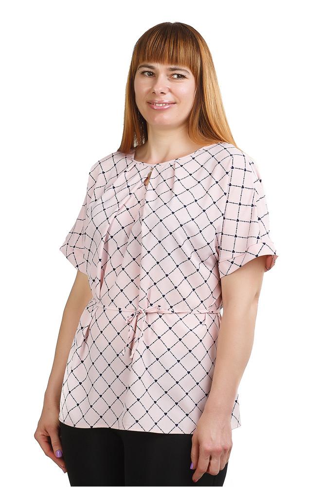 Стильна блуза в ромбик бежевого кольору Бл-431