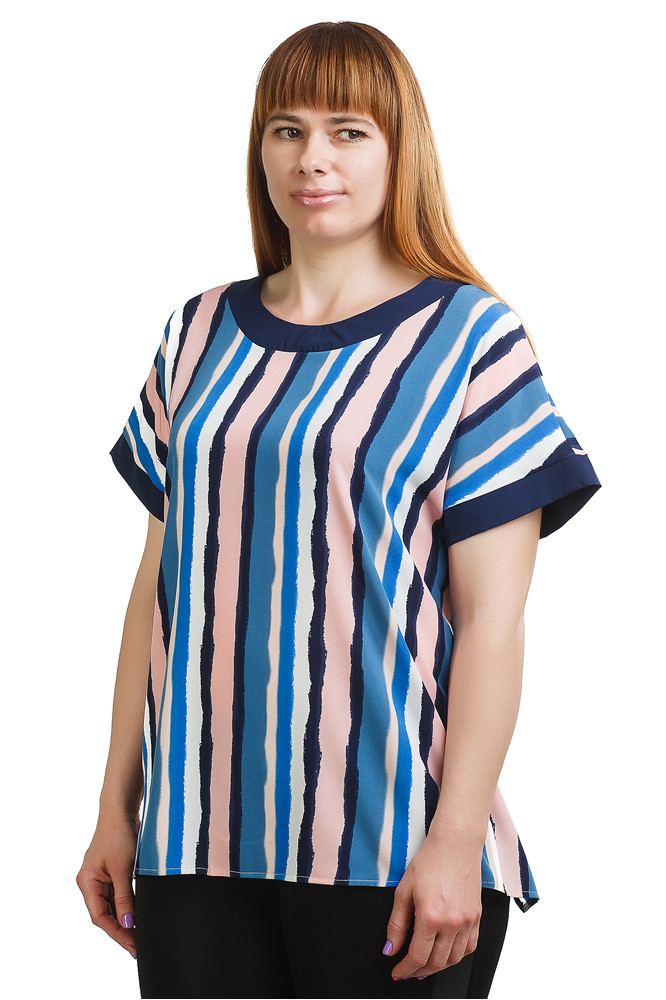 Стильная блуза в полоску синяя Бл-429