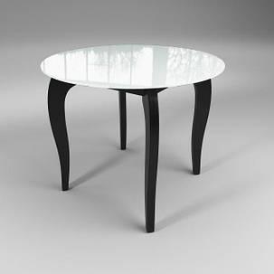 Стол обеденный стеклянный Император Круг Контраст Бело-черный (Sentenzo TM), фото 2