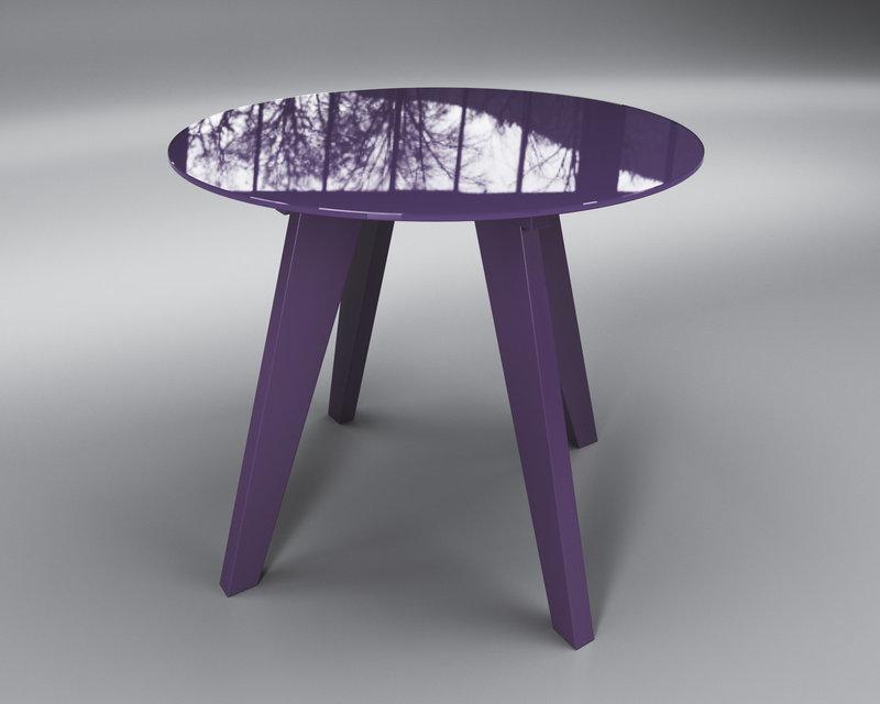 Стол обеденный стеклянный Леонардо Круг Фиолетовый (Sentenzo TM)