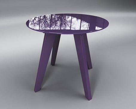 Стол обеденный стеклянный Леонардо Круг Фиолетовый (Sentenzo TM), фото 2