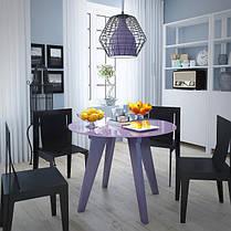 Стол обеденный стеклянный Леонардо Круг Фиолетовый (Sentenzo TM), фото 3