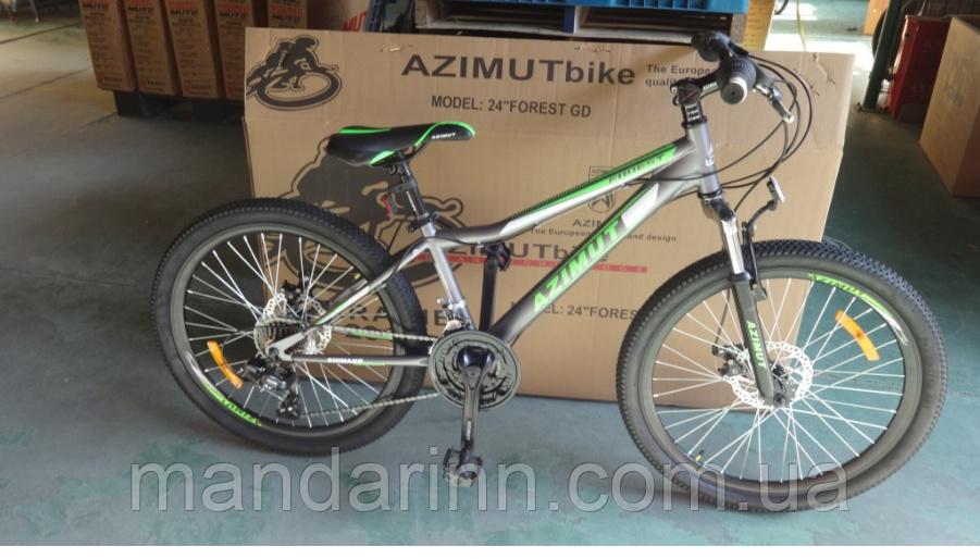 Горный велосипед Azimut Forest 24 дюйма.12.5 рама. Дисковые тормоза. Серый