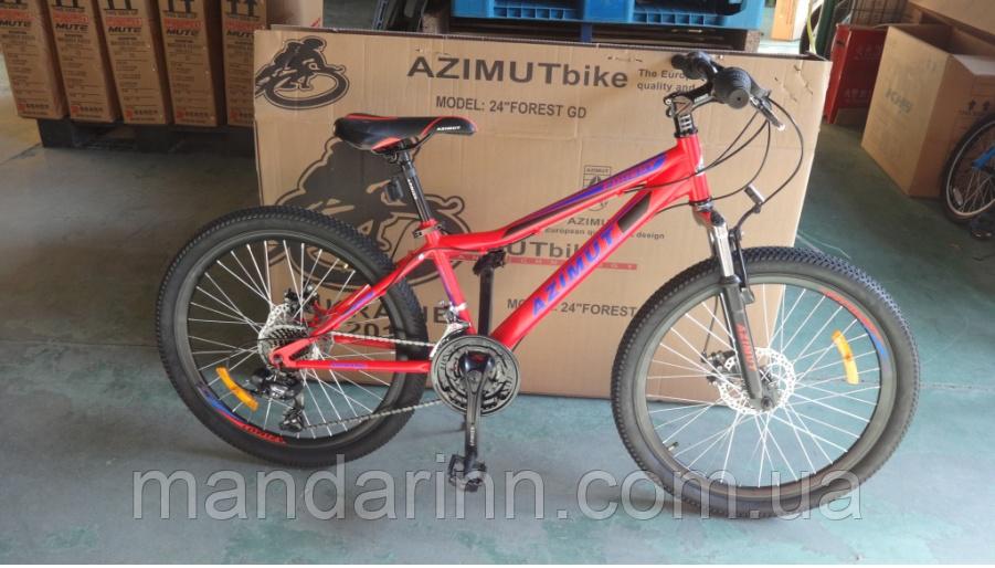 """Горный велосипед Azimut Forest 26 дюймов. Рама 13"""".  Дисковые тормоза. Красный"""