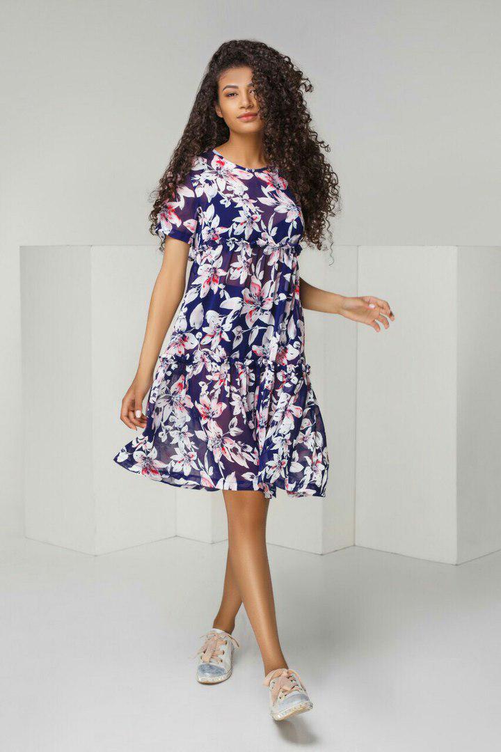 6162f2411473559 Летнее шифоновое платье свободного кроя в комплекте с шортиками арт 5430-6