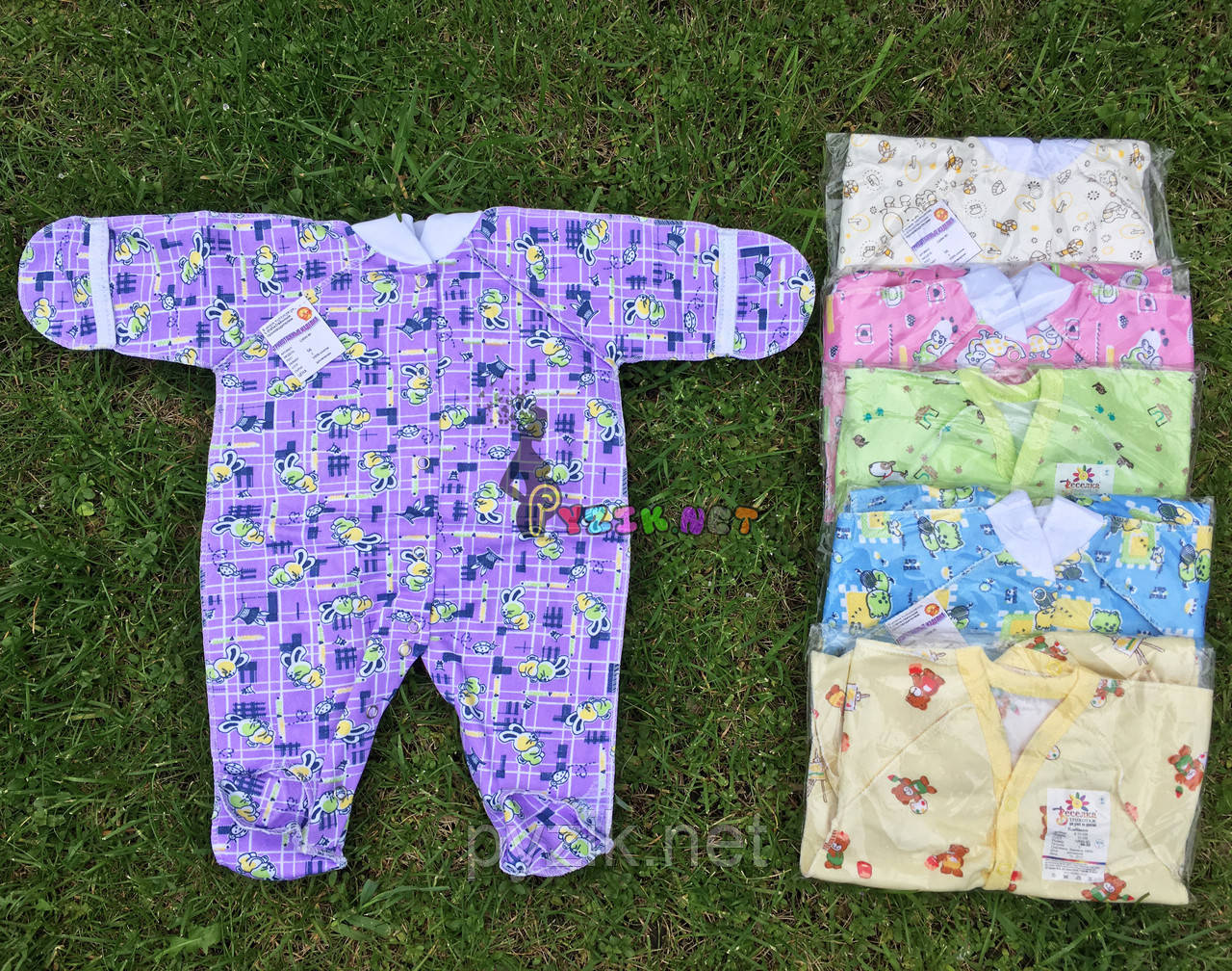 Человечек для новорожденного фиолетовый футер (хлопок 100%) 56-62 р-р