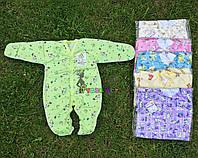 Человечек для новорожденного салатовый футер (хлопок 100%) 56-62 р-р, фото 1