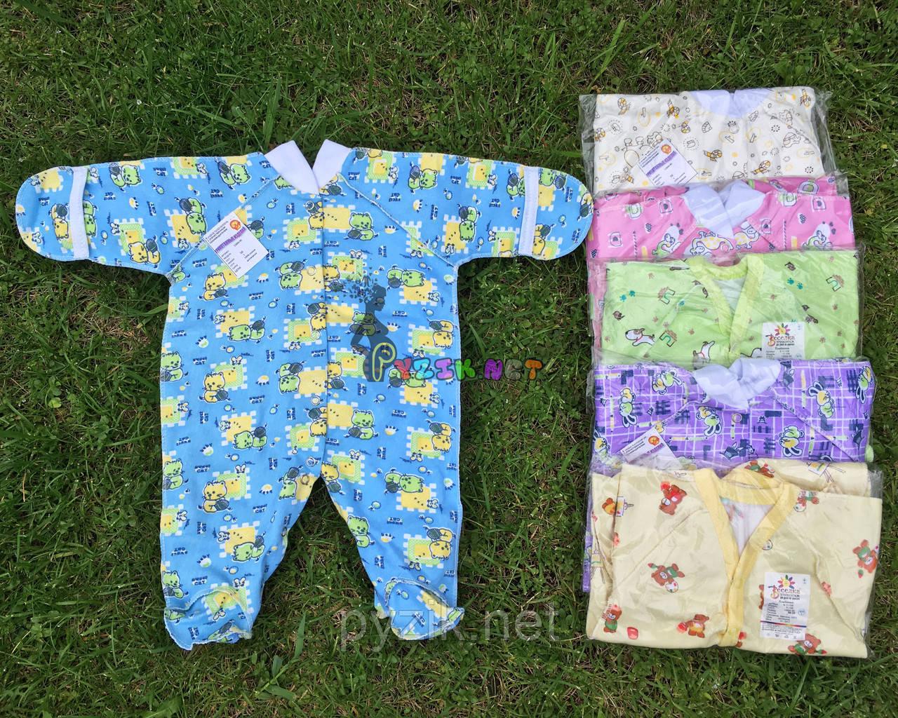 Человечек для новорожденного голубой футер (хлопок 100%) 56-62 р-р