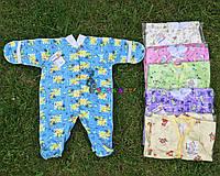 Человечек для новорожденного голубой футер (хлопок 100%) 56-62 р-р, фото 1