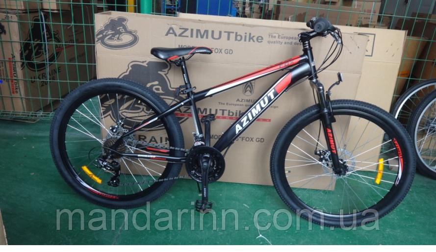 Горный велосипед Azimut Fox 24 GD. Дисковые тормоза. Черный