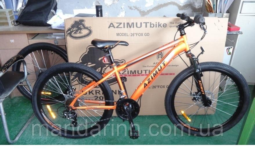 Горный велосипед Azimut Fox 24 GD. Дисковые тормоза. Оранжевый