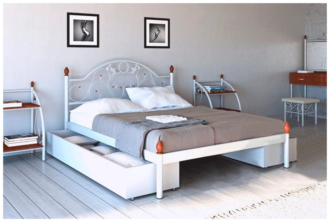 Кровать Франческа белая 160*190 с ящиками (Металл дизайн)
