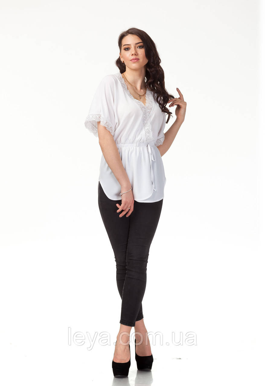 Женская летняя блуза. Модель К091_жатка белая, фото 1