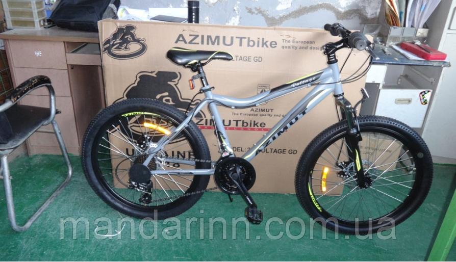 """Горный велосипед Azimut  26"""" Voltage 18 рама. Дисковые тормоза. Серый"""