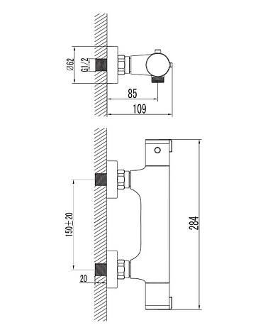 CENTRUM cмеситель для душа с термостатом, фото 2