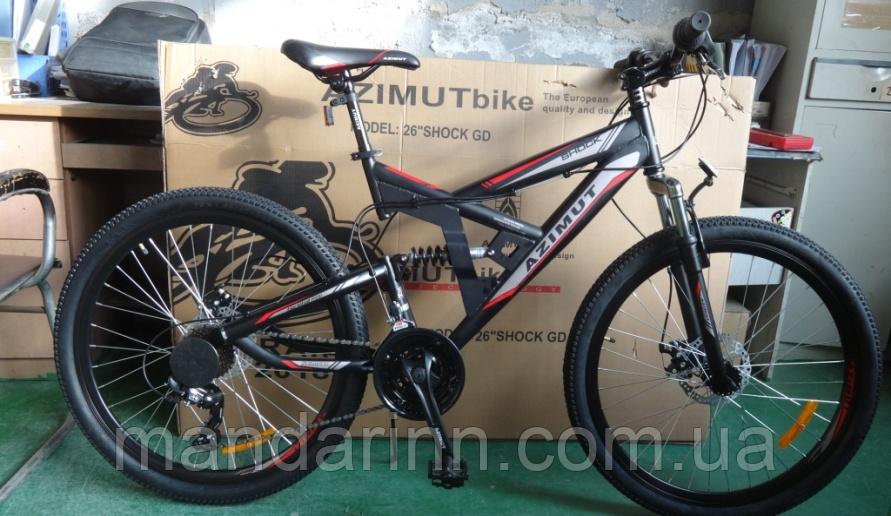 """Велосипед гірський Azimut Shock 26"""". Шимано. Дискові гальма. Чорний"""