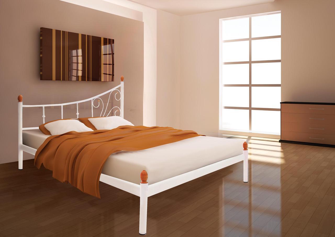 Кровать Калипсо белый бархат 140*200 (Металл дизайн)