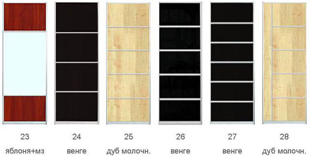 Комбиниорваннеы фасады, ДСП, Зеркало, Цветное стекло (Фото 3)