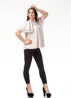 Женский трикотажный блузон с кружевом. Модель К077_бежевый., фото 1