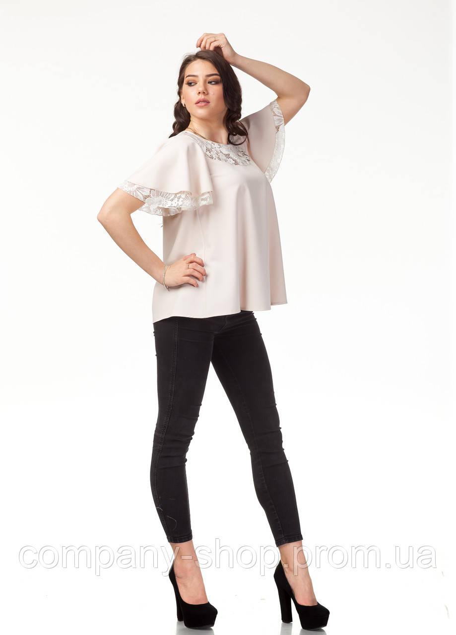 Женский трикотажный блузон с кружевом. Модель К077_бежевый.