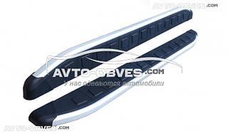 Защитные боковые подножки площадки для Audi Q3 2014--...  (стиль Porsche Cayenne)
