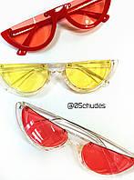 Полуободковые  СОЛНЦЕЗАЩИТНЫЕ ОЧКИ половинки с прозрачной оправой, красные, розовые, голубые, желтые, черные