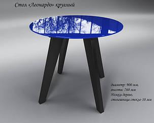 Стол обеденный стеклянный Леонардо Круг Сине-черный (Sentenzo TM), фото 2