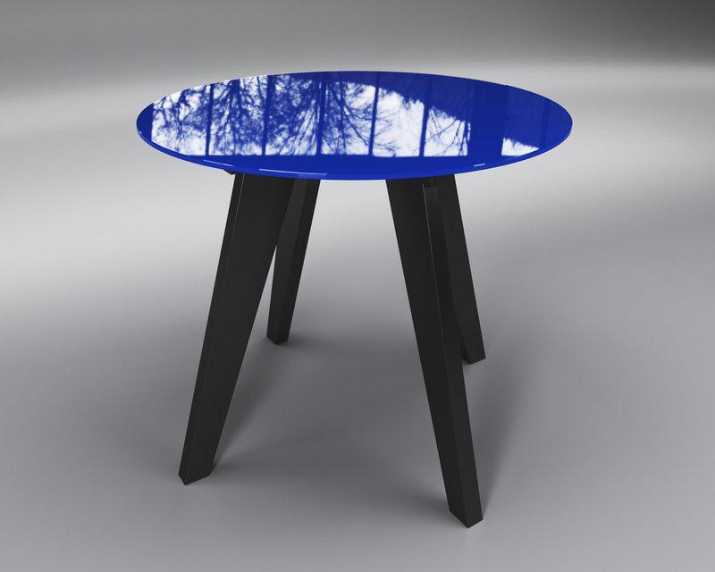 Стол обеденный стеклянный Леонардо Круг Сине-черный (Sentenzo TM)