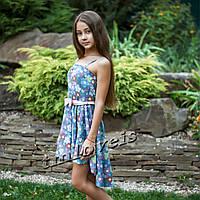 Подростковый джинсовый сарафан Бриз цветы