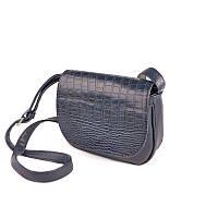 Женская маленькая сумочка через плечо по кожу крокодила синего цвета