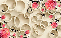 Фотообои 3D розы и круги