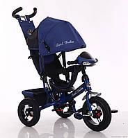 Велосипед детский трехколесный, надувные колеса+фара Бест Трайк 6588B синий, Best Trike
