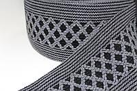 Тесьма акрил 120мм (25м) черный+т.серый, фото 1