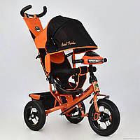 Трехколесный велосипед для детей от 1 года, Бест Трайк 6588B оранжевый, надувные колеса+фара Best Trike