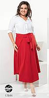 Женская юбка на запах красного цвета. Модель 17844. Размеры 50-56, фото 1