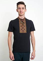 Мужская футболка с оригинальной вышивкой на черном фоне