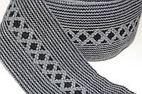 Тесьма акрил 120мм (25м) черный+т.серый