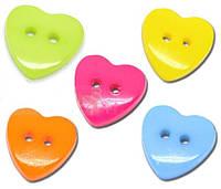 Пуговицы фигурные «Сердечки разноцветные»(5)