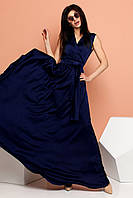 Струящееся Шелковое Платье Длинное на запах Темно-Синее S-XL, фото 1